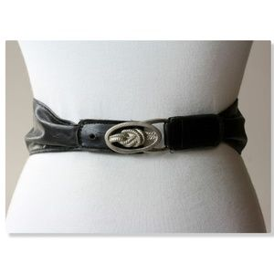 Vintage Western Roper Rope Belt Black Silver S